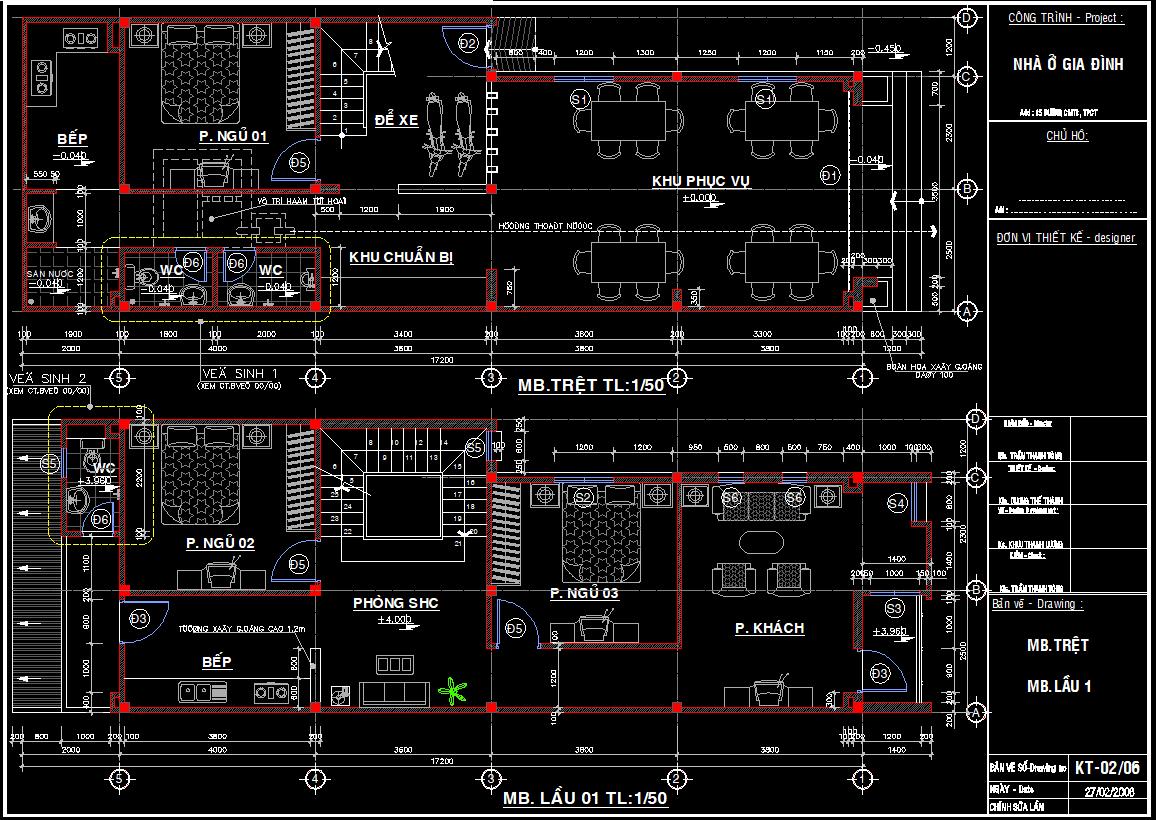 Hồ sơ thiết kế mẫu nhà phố 3 tầng 6x18m Hồ sơ thiết kế mẫu nhà phố 3 tầng