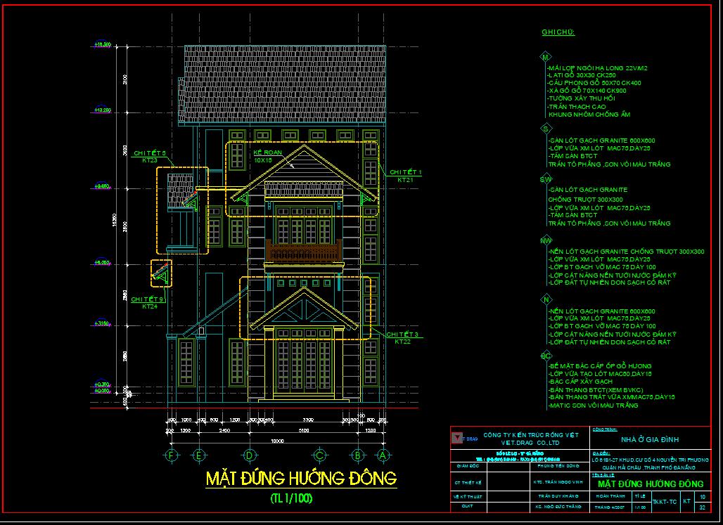 Mẫu bản vẽ biệt thự phố 4 tầng 10x20m