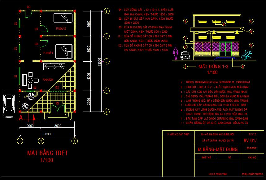Bản vẽ mẫu nhà cấp 4 Full