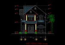 Bản vẽ thiết kế mẫu biệt thự 2 tầng