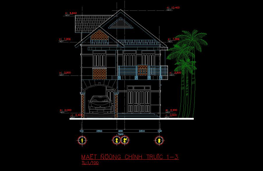 Bản vẽ thiết kế biệt thự 8x14m