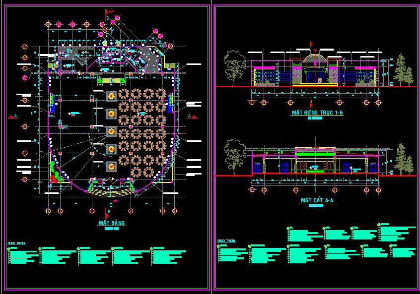 Bản vẽ thiết kế nhà hàng Hoa Viên