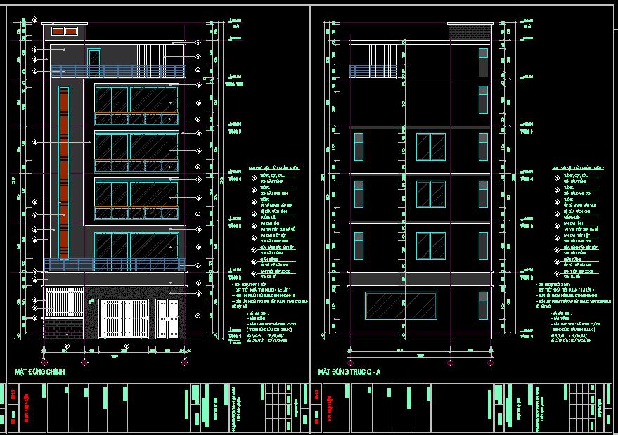 Bản vẽ thiết kế nhà phố 10x19m
