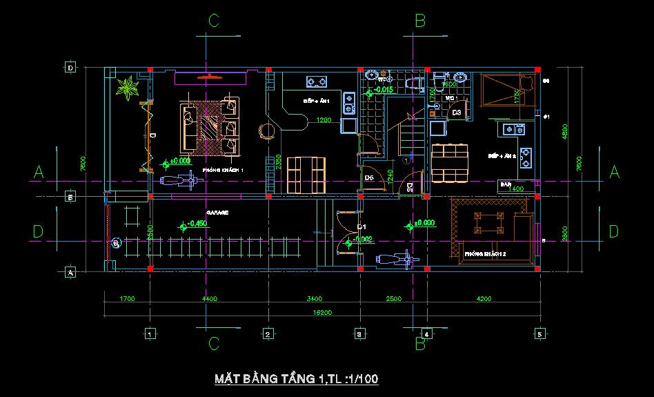 Bản vẽ thiết kết nhà phố 7x16m Bản vẽ thiết kết nhà phố