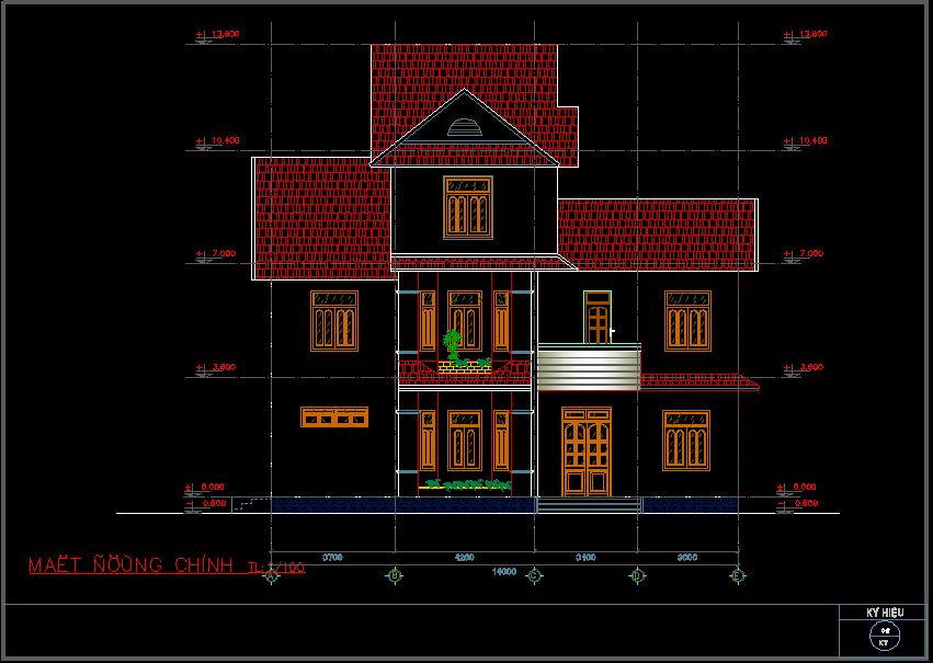 Mẫu biệt thự 3 tầng 8x14m đẹp