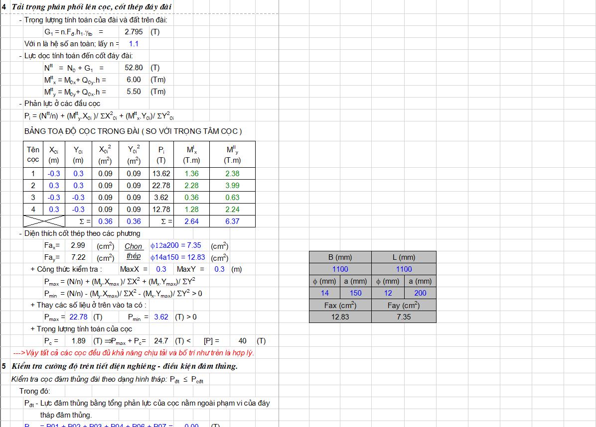 Bảng excel tính toán móng cọc ép Bảng excel tính toán móng cọc ép 2