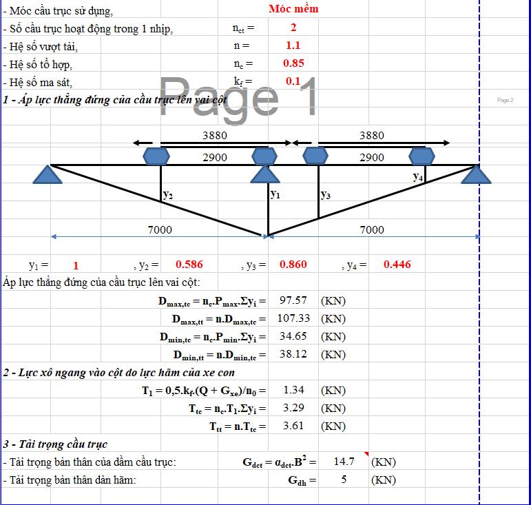 Bảng excel tính toán tải trọng cầu trục Bảng excel tính toán tải trọng cầu trục 2