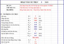 Bảng excel tính toán tải trọng cầu trục