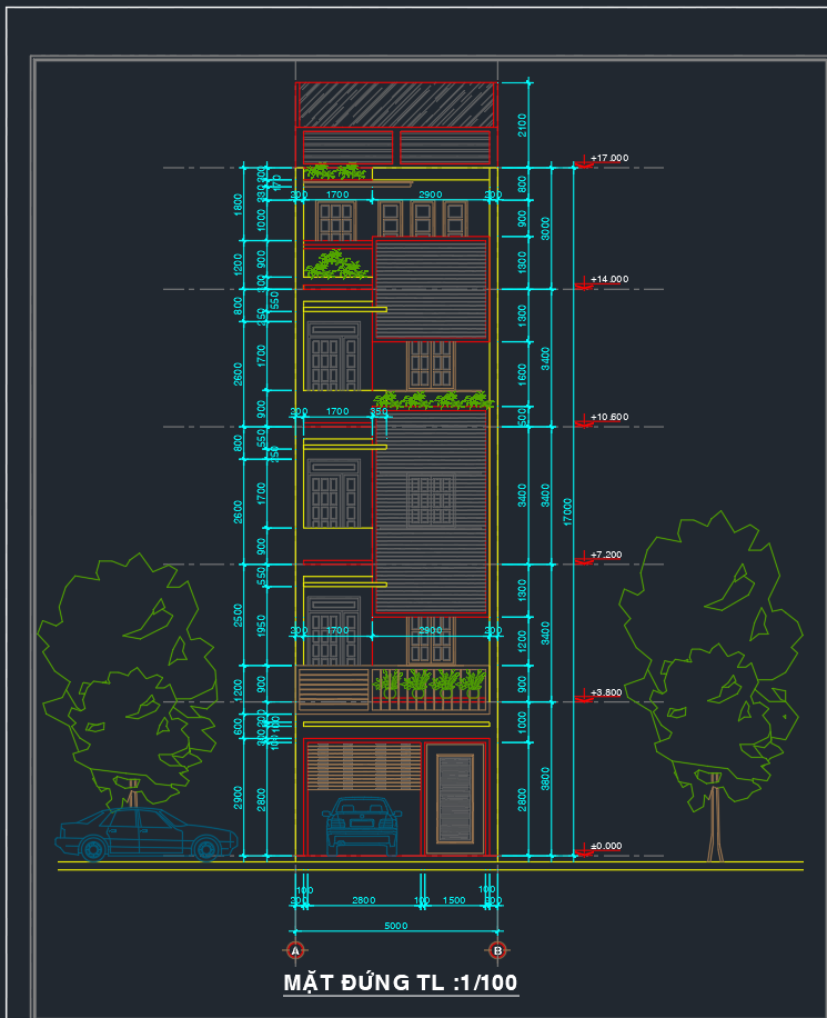 Mẫu nhà phố 5 tầng full TK Mau nha pho 5 tang full TK