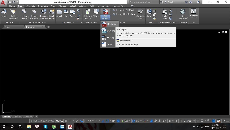 Tính năng chuyển PDF sang CAD trên AutoCAD 2018